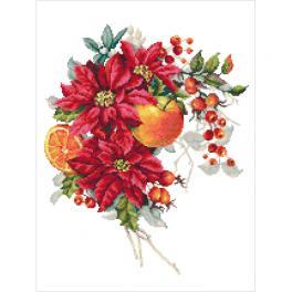 GC 10345 Vzor na vyšívání vytištěný - Vánoční kompozice