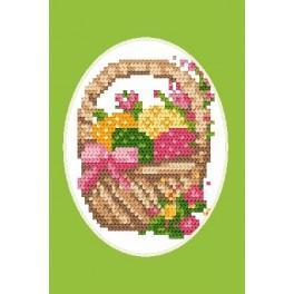 Velikonoční karta- Kraslice v košíku - Předloha