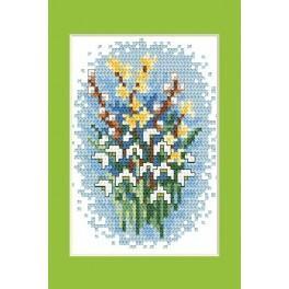 Velikonoční karta- Sněženky - Předloha