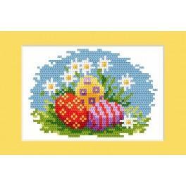 Velikonoční karta- Barevné kraslice - Předloha