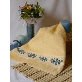 Ručník s modrými květinami - Předloha