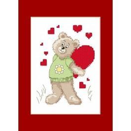 Předloha online - Valentýnské přání - Medvídek se srdíčkem