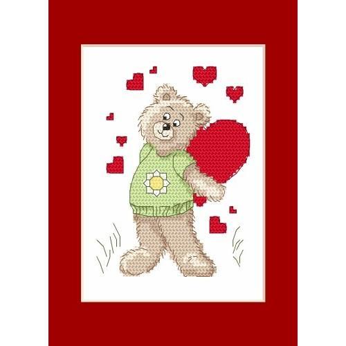 W 4986 Předloha ONLINE pdf - Valentýnské přání - Medvídek se srdíčkem