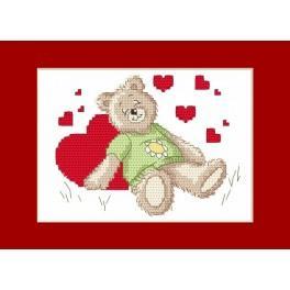 Předloha online - Valentýnské přání - Spící medvídek