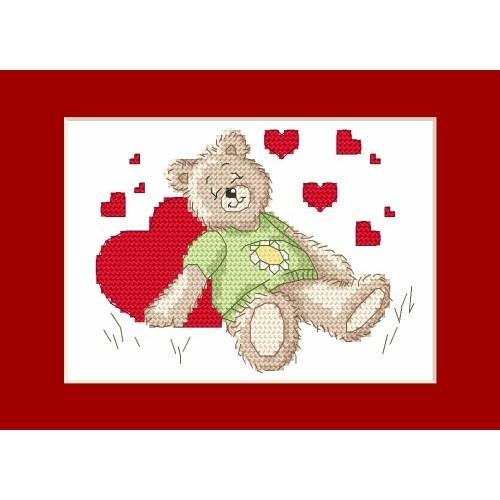 W 4987 Předloha ONLINE pdf - Valentýnské přání - Spící medvídek