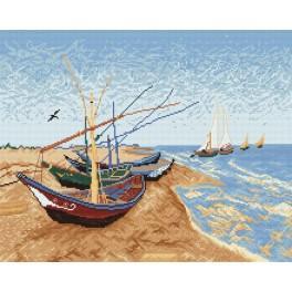 Předloha online - Bárky na pláži - V. van Gogh