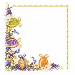 Předloha online - Ubrousek - Velikonoční vajíčka s jarními květy