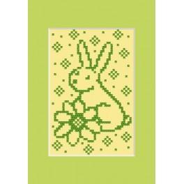 Předloha online - Velikonoční přání - Zajíček s kytkou