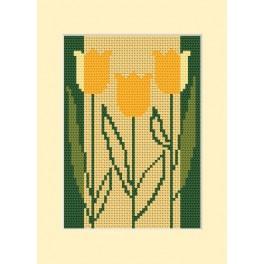 Předloha online - Narozeninová karta - Tři tulipány