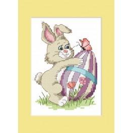 W 8624-01 Předloha ONLINE pdf - Velikonoční karta - Zajíček s kraslicí