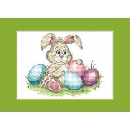 W 8624-04 Předloha ONLINE pdf - Velikonoční karta - Veselý zajíček