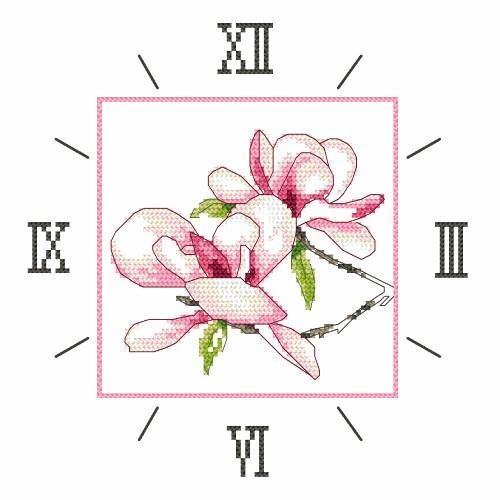 W 8675 Předloha ONLINE pdf - Hodiny s magnolií