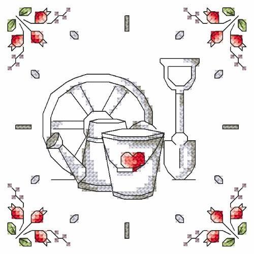 W 8680-05 Předloha ONLINE pdf - Hodiny - Květiny ze zahrady