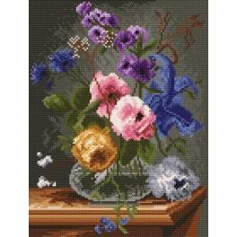 Květy ve skleněné váze - Předtištěná kanava