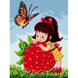 Girl with strawberry - Předtištěná kanava