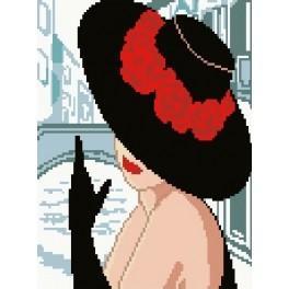 Žena v klobouku s červenými květy - Předtištěná kanava