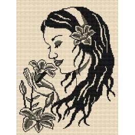 Dívka s liliemi - Předtištěná kanava