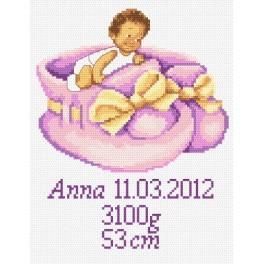 Výšivka k narození holčičky - Předtištěná kanava