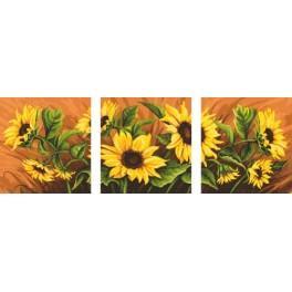 Předloha online - Triptych se slunečnicemi