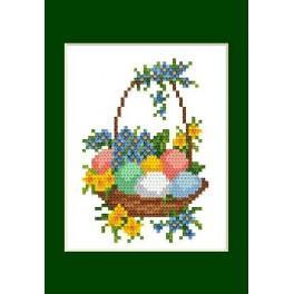 Předloha online - Velikonoční karta - Kraslice v košíku