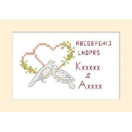 Předloha online - Svatební přání - Dva holoubci