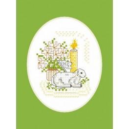 Předloha online - Velikonoční karta - Beránek s praporkem