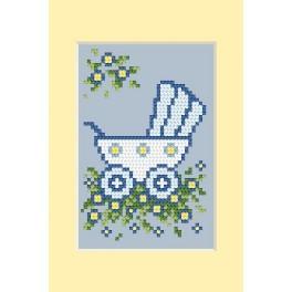 Předloha online - Den narození - modrý kočárek