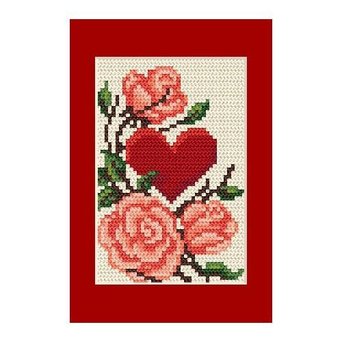 W 4805-01 Předloha ONLINE pdf - Karta na přání - Srdce s růžemi