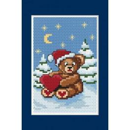 Předloha online - Vánoční přání - Medvídek