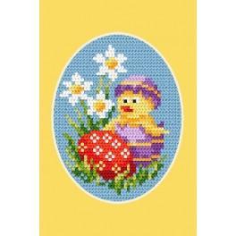 Předloha online - Velikonoční karta - Kuřátko a kraslice