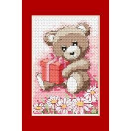 Předloha online - Narozeninová karta - Medvídek s dárkem