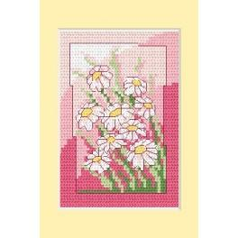 Předloha online - Narozeninová karta - Bílé květiny