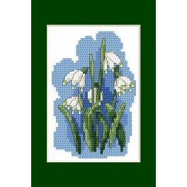 Předloha online - Velikonoční karta- Bledule jarní