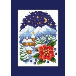 Předloha online - Vánoční přání - Krajinka s betlémskou hvězdou