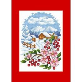 Předloha online - Vánoční přání - Krajinka s květinami