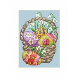 Předloha online - Velikonoční karta- Kraslice v košíku