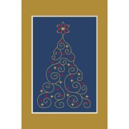 Předloha online - Vánoční přání - Vánoční stromeček s hvězdičkami