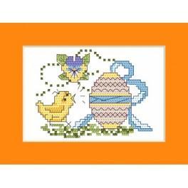 W 4365 Předloha ONLINE pdf - Velikonoční přání - Kuře s kraslicí
