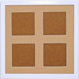Dřevěný rámeček - bílá barva - paspartou písková (23,2x23,2cm)