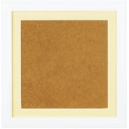 Dřevěný rámeček - barva bílá - paspartou ecru (19x19cm)