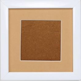 Dřevěný rámeček - barva bílá - paspartou písková (12,7x12,7cm)