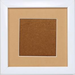 Dřevěný rámeček - barva bílá - paspartou písková (13,2x13,2cm)
