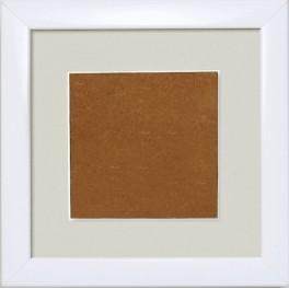 Dřevěný rámeček - barva bílá - paspartou šedá (13,2x13,2cm)