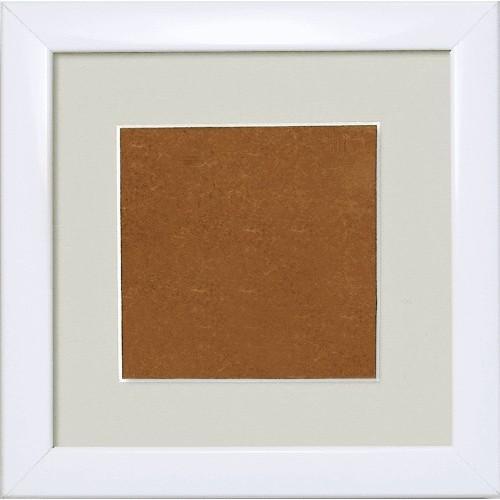 S 157005-1313-178 Dřevěný rámeček - barva bílá - paspartou šedá (13,2x13,2cm)