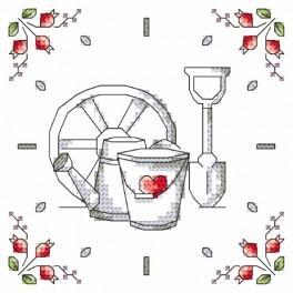 Wzór graficzny - Zegar - Kwiaty z ogródka