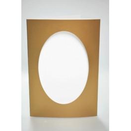 Velká přání s oválnou paspartou. Barva zlatá.