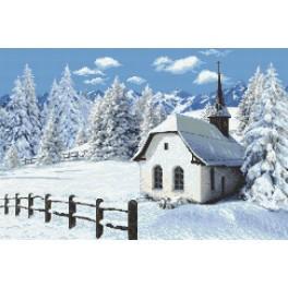 Kostelík v zimě - Předtištěná aida