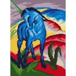 Modrý kůň - F. Marc - Předtištěná aida