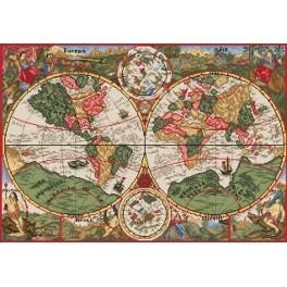 Antická mapa světa - Předtištěná aida