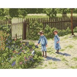 Děti na Zahradě - Předtištěná aida